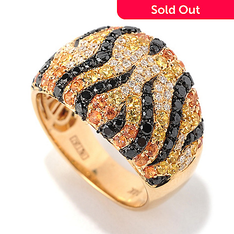 133-039 - EFFY 14K Gold 1.91ctw Diamond & Fancy Sapphire Tiger Stripe Ring