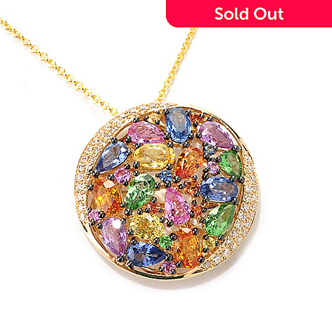 133-040 - EFFY 14K Gold 4.34ctw Multi Gemstone & Diamond Pendant w/ 18'' Chain