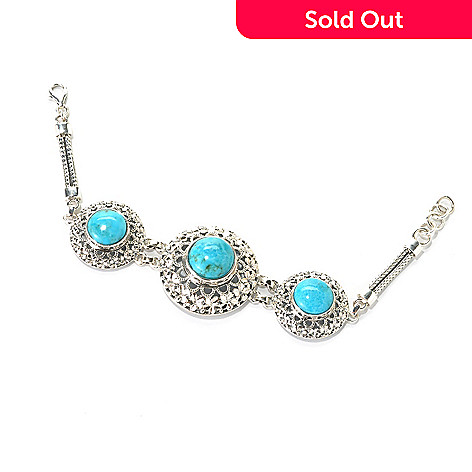 133-044 - Gem Insider™ Sterling Silver 7'' Turquoise Three-Stone Openwork Bracelet