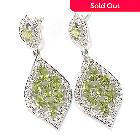 133-046 - Gem Insider Sterling Silver 2'' 7.68ctw Peridot Double Marquise Drop Earrings