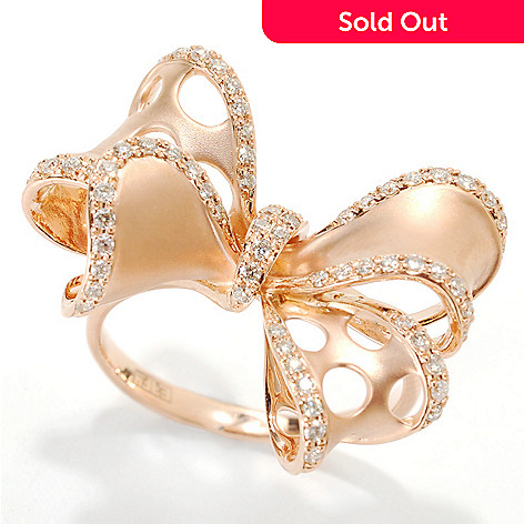 133-055 - EFFY 14K Rose Gold 0.35ctw Round White Diamond Bow Ring