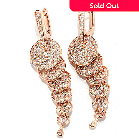 133-060 - EFFY 14K Rose Gold 2'' 2.14ctw Diamond Circle Dangle Earrings