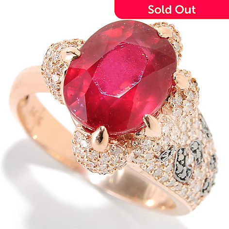133-062 - EFFY 14K Rose Gold 5.00ctw Innova™ Ruby, Black & White Diamond Leopard Paw Ring