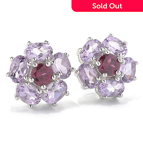 133-063 - Gem Insider Sterling Silver Rhodolite Garnet & Gemstone Flower Stud Earrings