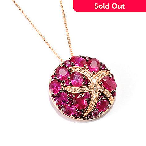 "133-064 - Effy 14K Rose Gold 4.16ctw Innova® Ruby & Diamond Starfish Pendant w/ 18"" Chain"