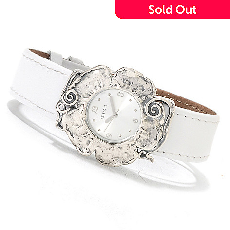 133-067 -  Passage to Israel™ Women's 8.5'' Stainless Steel Leather Strap Flower Watch