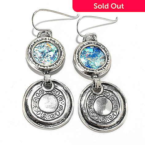 133-072 - Passage to Israel™ Sterling Silver 2'' 14mm Roman Glass Double Disk Drop Earrings