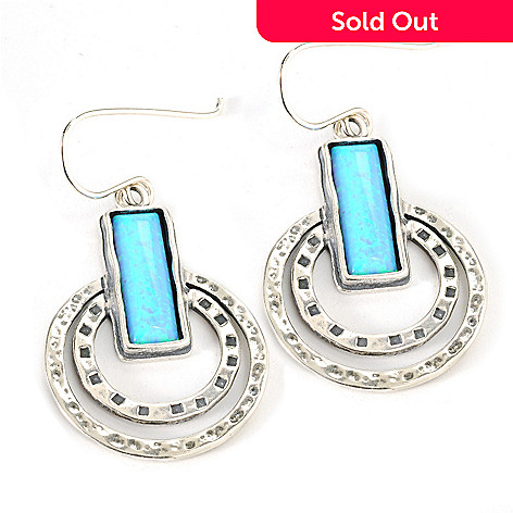 133-077 - Passage to Israel™ Sterling Silver 1.5'' 15 x 5mm Simulated Opal Bar & Circle Earrings