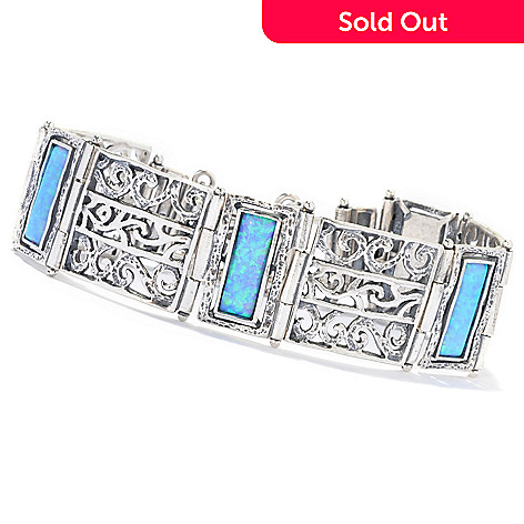 133-078 - Passage to Israel™ Sterling Silver 15 x 5mm Simulated Opal Scrollwork Station Bracelet