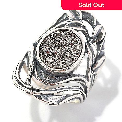 133-083 - Passage to Israel™ Sterling Silver 12 x 10mm Drusy Elongated Openwork Leaf Ring