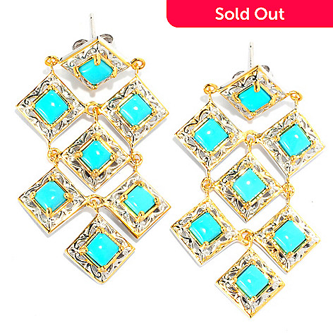 133-086 - Gems en Vogue 1.75'' Sleeping Beauty Turquoise Chandelier Earrings
