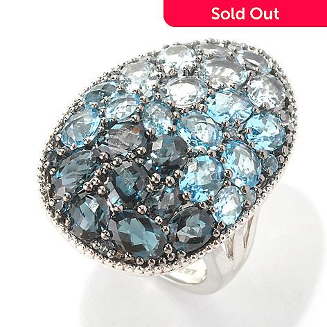 133-087 - Effy Sterling Silver 7.80ctw Blue Topaz & Aquamarine Balissima Ring