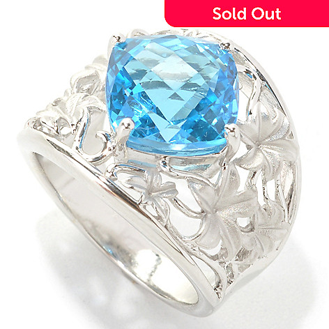 133-089 - Effy Sterling Silver 4.75ctw Blue Topaz Floral Openwork Balissima Ring