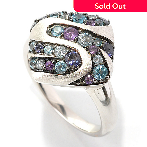 133-095 - Effy Sterling Silver Multi Gemstone Balissima Square Ring