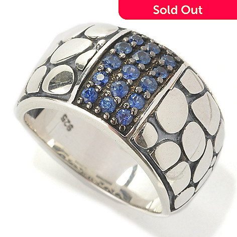133-097 - Effy Sterling Silver Round Sapphire Pebblestone ''Balissima'' Ring