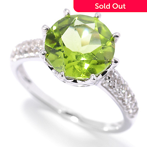 133-098 - Gem Insider™ Sterling Silver 4.55ctw Round Peridot & White Topaz Ring