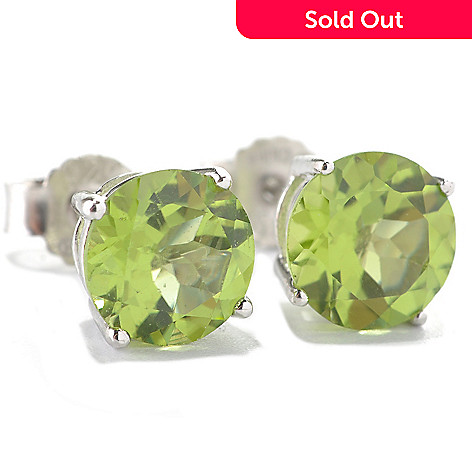 133-099 - Gem Insider® Sterling Silver 3.60ctw Round Peridot Stud Earrings