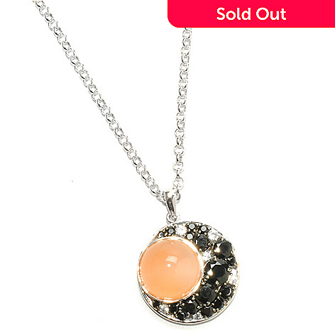 133-100 - Gem Insider Sterling Silver 12mm Moonstone & Multi Gem Moon Pendant w/ Chain