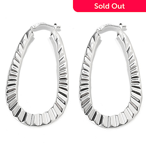 133-110 - SempreSilver® 2'' Textured Oval Hoop Earrings