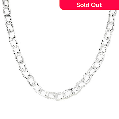 133-112 - SempreSilver® 17.5'' Polished & Diamond Cut Oval Link Necklace, 9 grams