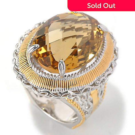 133-114 - Gems en Vogue 18.20ctw Oval Zambian Citrine North-South Ring