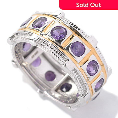 133-118 - Men's en Vogue 2.47ctw Round African Amethyst Eternity Band Ring