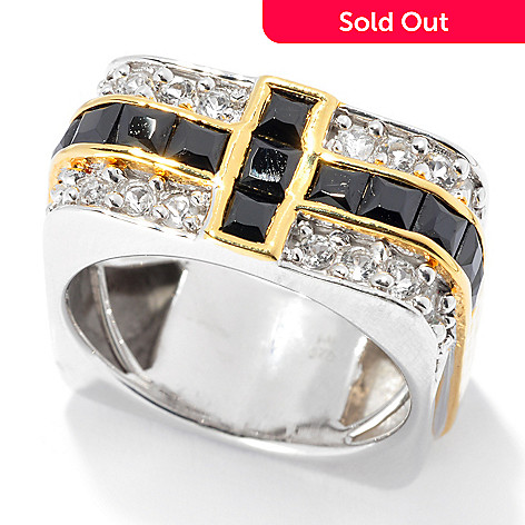 133-126 - Men's en Vogue II 2.89ctw Black Spinel & White Topaz Square Band Ring