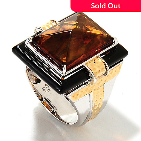 133-128 - Men's en Vogue 18 x 13mm Pyramid Cut Baltic Amber & Onyx Ring