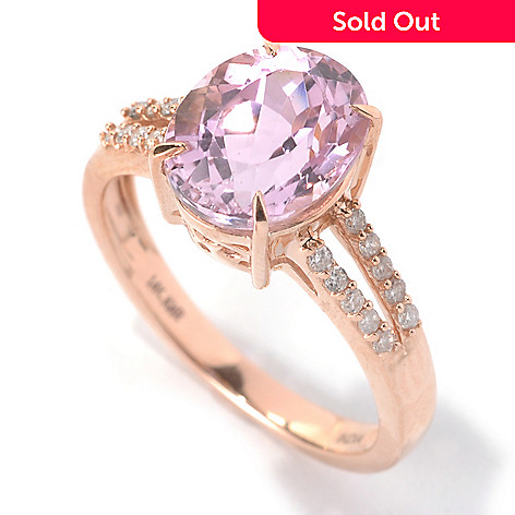 133-141 - Gem Treasures 14K Rose Gold 2.80ctw Kunzite & Diamond Split Shank Ring