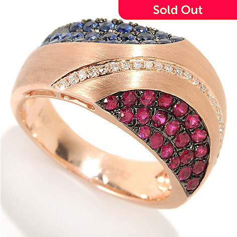 133-144 - Effy 14K Rose Gold 1.06ctw Ruby, Sapphire & Diamond Semi-Circle Ring