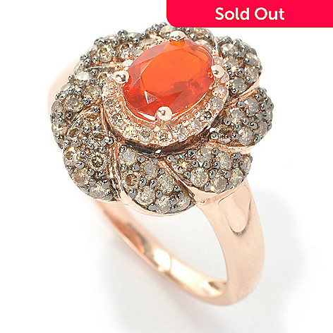 133-150 - Gem Treasures 14K Rose Gold 3.52ctw Fire Opal, Champagne & White Diamond Ring