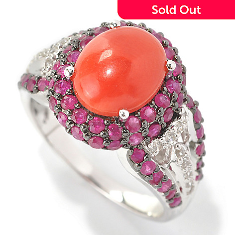 133-151 - Gem Treasures® Sterling Silver 10 x 8mm Coral, Hot Pink Ruby & White Zircon Ring