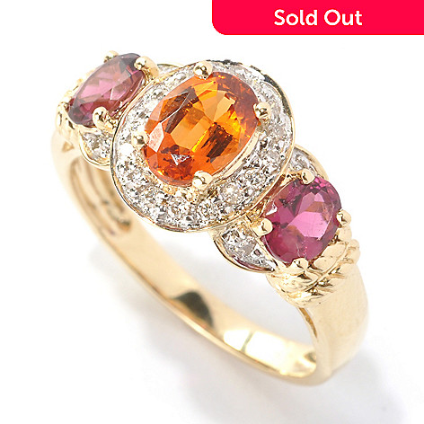 133-152 - Gem Treasures 14K Gold 1.71ctw Oval Spessartite, Rubellite & Diamond Halo Ring