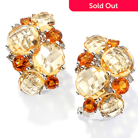 133-156 - Gem Treasures® Sterling Silver 7.85ctw Citrine, Diamond & Madeira Citrine Earrings