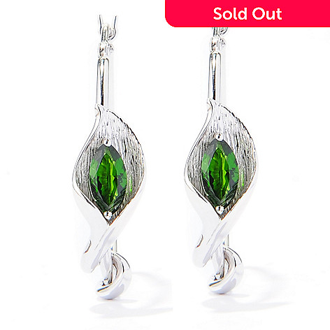 133-158 - Gem Treasures Sterling Silver 1'' Chrome Diopside Calla Lily Hoop Earrings