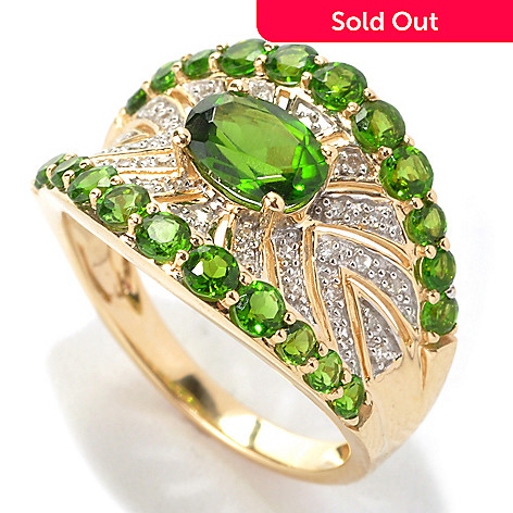 133-159 - Gem Treasures 14K Gold 1.82ctw Chrome Diopside & Diamond Cut-out Concave Ring