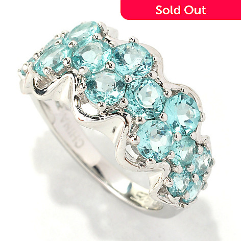133-160 - Gem Treasures® Sterling Silver 2.64ctw Apatite Wave Band Ring