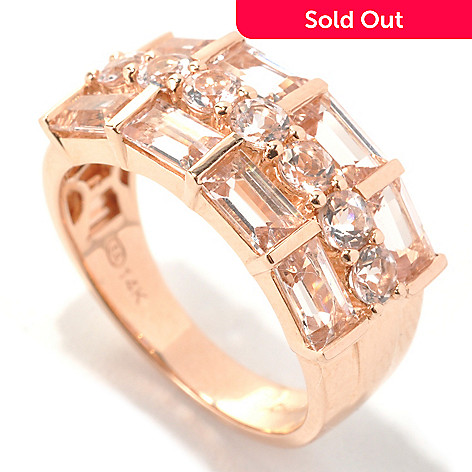 133-163 - Gem Treasures® 14K Rose Gold 2.24ctw Round & Baguette Morganite Three-Row Ring