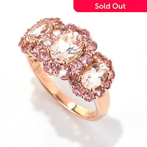 133-164 - Gem Treasures 14K Rose Gold 2.32ctw Morganite & Pink Tourmaline Three-Stone Ring