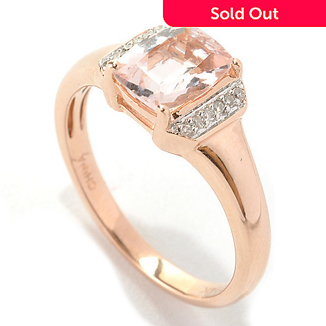133-165 - Gem Treasures® 14K Rose Gold 1.00ctw Cushion Cut Morganite & Diamond Ring