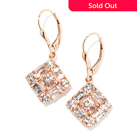 133-168 - Gem Treasures® 14K Rose Gold 1.25'' 3.34ctw Round & Baguette Morganite Earrings