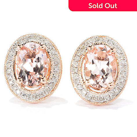 133-169 - Gem Treasures 14K Rose Gold 1.33ctw Morganite & Diamond Halo Stud Earrings