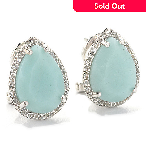 133-171 - Gem Insider Sterling Silver 14 x 10mm Teardrop Amazonite & White Topaz Earrings