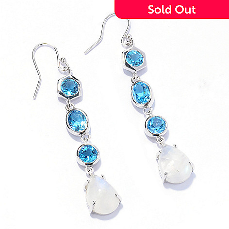 133-172 - Gem Insider™ Sterling Silver 1.75'' Swiss Blue Topaz & Rainbow Moonstone Earrings