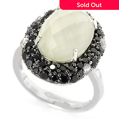 133-182 - Gem Treasures® Sterling Silver 6.28ctw Spinel, White Zircon & Prasiolite Ring