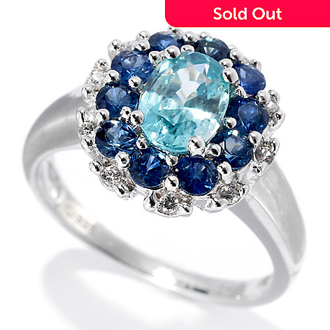 133-185 - Gem Treasures® Sterling Silver 1.98ctw Fancy Zircon & Sapphire Double Halo Ring