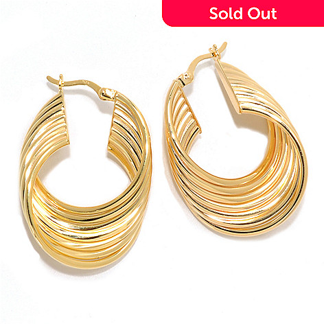133-199 - Portofino 18K Gold Embraced™ 1.25'' Polished & Twisted Panel Hoop Earrings