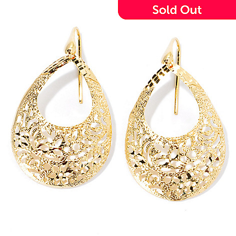 133-203 - Portofino Gold Embraced™ 2'' Flower Cut-out Teardrop Earrings