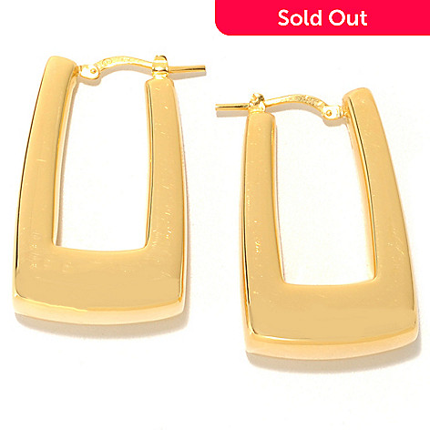 133-207 - Portofino 18K Gold Embraced™ 1.25'' Square Mod Hoop Earrings