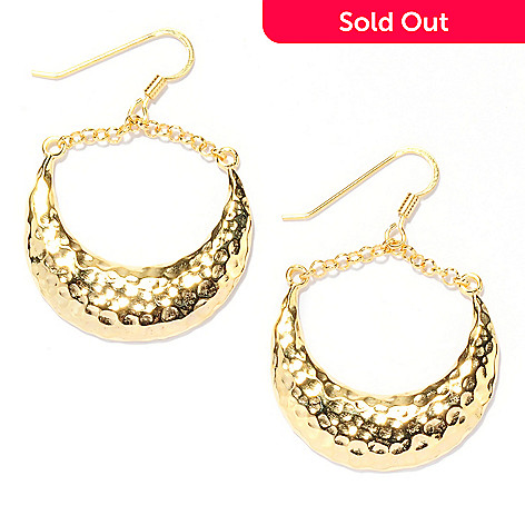 133-213 - Portofino 18K Gold Embraced™ 1.75'' Hammered Etruscan Crescent Drop Earrings